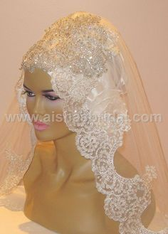 ready to wear bridal hijab Bridal Hijab Styles, Hijab Wedding Dresses, Bridal Outfits, Wedding Attire, Wedding Bride, Bridal Updo, Headpiece Wedding, Bride Accessories, Beautiful Hijab
