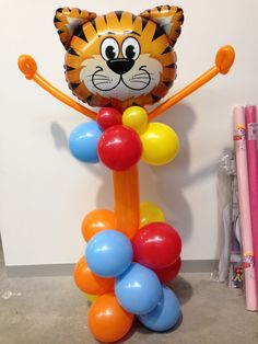 Tiger balloon floor decoration. Made by Let's Celebrate Parties