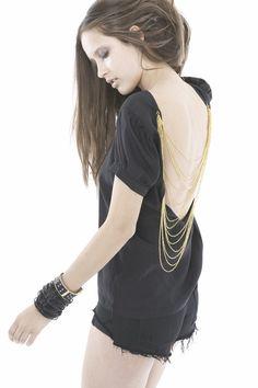 black, grunge, gold chains