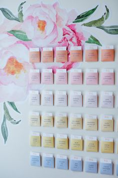 The prettiest ombre escort card wall: http://www.stylemepretty.com/little-black-book-blog/2016/04/13/peonies-peaches-a-love-note-for-every-single-guest/ | Photography: Jenny Smith & Co. - http://www.jennysmithandco.com/