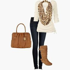 Adorable leopard scarf, long boots and bag inspiration | Fashion and styles