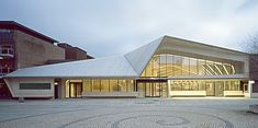 Beautiful public library designed by Helen & Hard architects is located in the downtown of Vennesla, Norway.