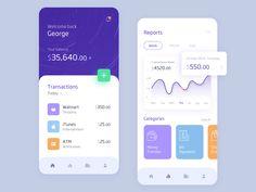 Banking App by Nishad Narayanan for RapidGems on Dribbble - Design Web Design, App Ui Design, Tool Design, Dashboard Mobile, Mobile App, Money Bill, Mobile Ui Design, Data Visualization, User Interface
