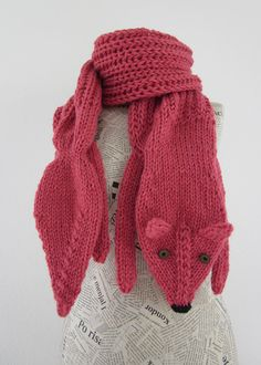 Hand knit long fox scarf in strawberry red  by AmeBa77....super cute!!