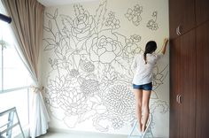 sharpie wall mural doodled entirely with sharpies within a period of 3 days. The design incorporates flowers in the chinese culture to bring in good health and prosperity. Peonies considered the… Art Mur, Mural Art, Wall Murals, Wall Art, Wall Decor, Sharpie Wall, Flower Mural, Bedroom Murals, Girls Bedroom Mural