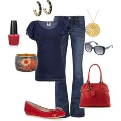 Cute casual red & blue outfit for Rebels.