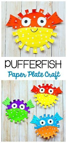 Paper Plate Pufferfish Craft for Kids: Easy fish craft for children perfect for a unit on the ocean, sea life, or just to make for fun! Provides fine motor practice and scissor cutting practice too! ~ BuggyandBuddy.com via @https://www.pinterest.com/cmarashian/boards/