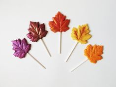 Beautiful Fall leaves....and the best is they are chocolate!  5 Chocolate Leaf Lollipops Autumn Series by TheFrostedPetticoat, $11.50