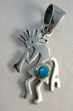 "KOKOPELLI TURQUOISE PENDANT STERLING SILVER FROM NEW MEXICO MEASURES: PENDANT 1.5"" (with bail) STAMPED ""STERLING"""
