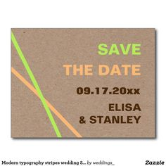 Modern typography stripes wedding Save the Date postcard