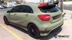 Mercedes a45 combat green 03 wrapstyle car wrap foil 10.47.48   Flickr - Photo Sharing! Mercedes A45 Amg, Car Wrap, Military Green, Custom Paint, Cars Motorcycles, Dream Cars, Coaching, Healer, Vehicles