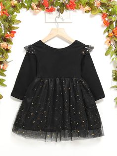 Toddler Girls Contrast Mesh Star Sequin Dress - Popviva Fit N Flare Dress, Fit And Flare, Kids Hair Accessories, Sequin Dress, Kids Outfits, Contrast, Kids Fashion, Sequins, Toddler Girls
