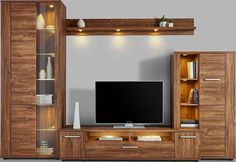 Wall unit pieces), Consists of: 1 cabinet on the left, 1 lowboard, 1 wall shelf, 1 cabinet on the right OTTO - unitesi tv unit Tv Unit Decor, Tv Wall Decor, Wall Tv, Shelf Wall, Tv Cabinet Design, Tv Wall Design, Tv Wanddekor, Tv Wall Cabinets, Modern Tv Wall Units