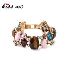 Alloy Retro Inlay Imitation Gemstones Charming Wide Women Bracelet New Design Factory Wholesale