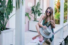 Gal Meets Glam Pink & Palm Print -Show Me Your Mumu dress, Mansur Gavriel sandals, Poolside tote, Illesteva sunglasses & Preston & Olivia hat