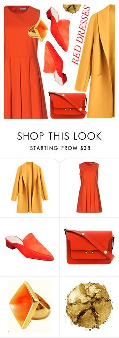 """""""Red dress"""" by supra-118 ❤ liked on Polyvore featuring RED Valentino, Cole Haan, Marni, Kenneth Jay Lane, Pat McGrath, look, coat and zaful"""
