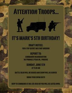Army Theme Birthday Invitation  Mr Soldier  Set by TickleToesCards, $35.00