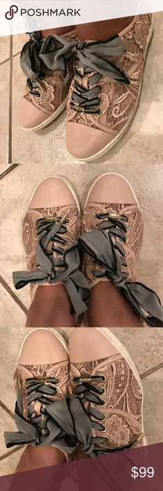 Lisa by Donald j.Pliner Lace sneakers size 6 This is gorgeous sneakers that has few used with some dirt on the bottom but laces are in great clean condition,it fits 6-6.5 but snug on 6.5 feet that you won't be able to wear socks. Donald J. Pliner Shoes Sneakers