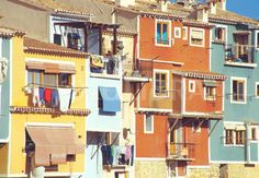Coloured facades. Villajoyosa (Coloured facades. Villajoyosa. Alicante province. Comunidad Valenciana. Spain.)