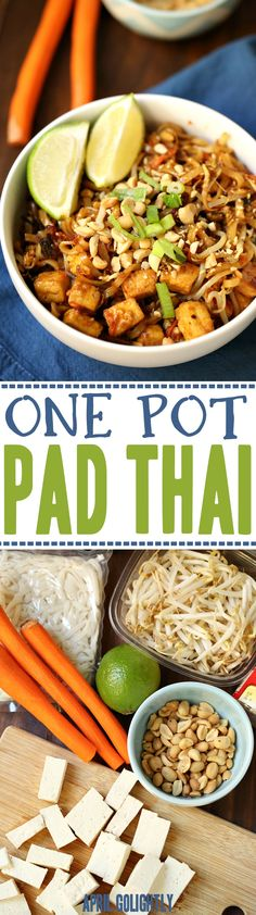used leftover pork instead of tofu Easy One Pot Pad Thai Recipe to make quickly for dinner with less dishes and healthy for the family meal Thai Recipes, Asian Recipes, Vegetarian Recipes, Cooking Recipes, Healthy Recipes, Vegetarian Pad Thai, Veggie Pad Thai, Tofu Meals, Tofu Pad Thai