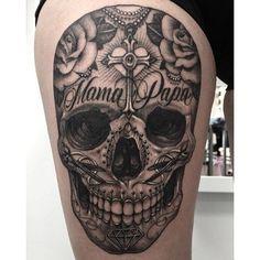 Sugar skull tattoo by Andy Blanco. #sugarskull #dayofthedead #skull #blackandgrey