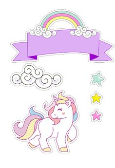 Risultato immagini per dibujo unicornio y arcoiris infantil Unicorn Printables, Free Printables, Unicorn Birthday Parties, Birthday Cards, Happy Birthday, Unicorn Cake Topper, Little Pony, Planner Stickers, Cake Toppers