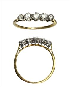 1900s Edwardian Five Diamond Ring
