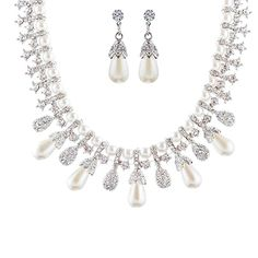 ACCESSORIESFOREVER Bridal Wedding Prom Jewelry Set Necklace Crystal TD Pearl Bib Choker Design Silver