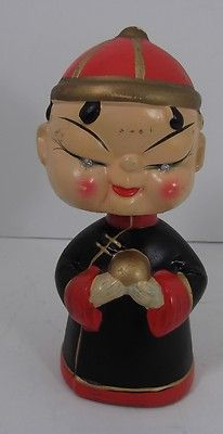 Vintage Bobble Head Oriental Chinese with Rhinestone Eyes | eBay