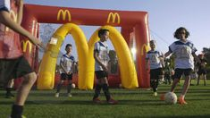 McDonald branded inflatable arch and goals
