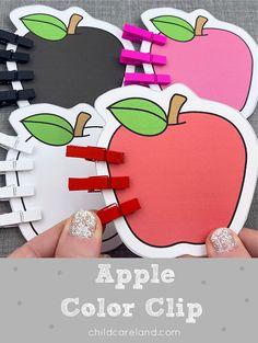 Fine Motor Apple Color Clip Early Learning Activities, Apple Activities, Classroom Activities, Apple Coloring, Kindergarten, Preschool, Fine Motor Skills Development, Johnny Appleseed, Apple Seeds