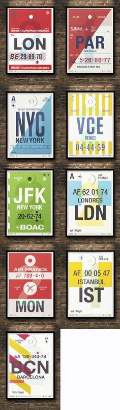 1) About:Posters inspired by airline tickets 2)Hierarchy: 1.Location 2. Airline 3.Flight number 4.Type as texture 3) Title: All caps in center 4) Typefaces: 1 sans serif & 1 serif in different weights & sizes 5) Colors: each poster is limited to black, white, gray, and an accent color (red, blue, green, yellow) 6) Unknown designer