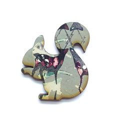 Patterned Squirrel Brooch by MicaPeet on Etsy