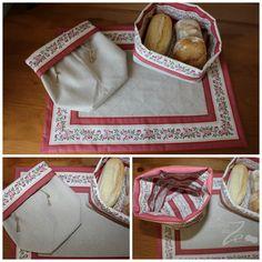 Conjunto Alcobaça Vermelho: individual e saquinhas com dupla face, uma em linho e outra em chita de Alcobaça; atilho para fechar e guardar.