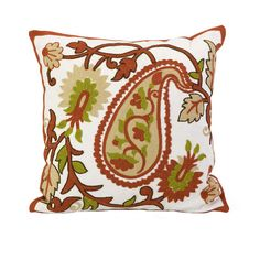 Pillow with a textured oversized paisley motif.  Product: Pillow  Construction Material:  Polyester and cotton  ...
