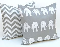 Pillows Children Decor Gray Animal Pillow Covers Accent Pillows Nursery Decor 20 x 20 Inches Elephant and Chevron Prints on Etsy, $34.00