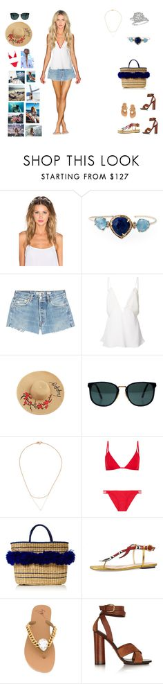 """""""Fourth of July- Day"""" by barrybaumbiz ❤ liked on Polyvore featuring Lelet NY, Harry Winston, RE/DONE, Christopher Esber, Ray-Ban, Wouters & Hendrix Gold, Melissa Odabash, Mari Giudicelli, Gucci and Giuseppe Zanotti"""