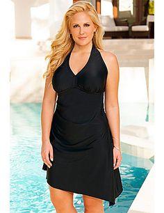 32b25fc219d Marilyn Black Convertible Swimdress by Swim   Sun Women s Plus Size Swimwear
