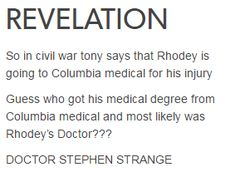 When Strange is driving his car, one of the cases suggested to him was a 35-year old Air Force pilot with a crushed spine from experimental technology.... I'll bet anything that was a Rhodey reference