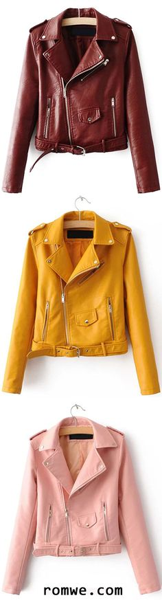 Faux Leather Belted Moto Jacket With Zipper