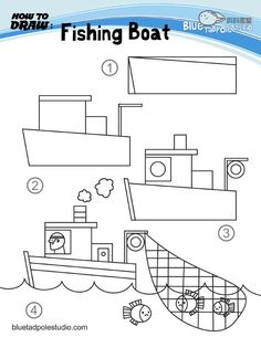 How to draw a fishing boat...