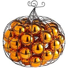 I have a few wire pumpkins, I may try this! So far, the leaves I filled it with have been falling out everywhere.