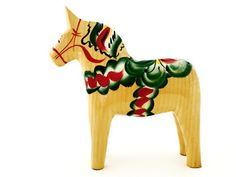 """Carved Wooden Dala Horse (Dalahäst) - Natural Wood 5"""" Tall from the Workshop of  Nils Olsson Dala Horses (Dalahästar) - Since 1928 The Premier Dala Horse Workshop - Swedish National Symbol - The Scandinavian Folk Art - Handcrafted in Nusnäs, Dalarna, Sweden 