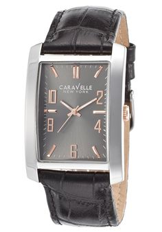 Caravelle NY Watches Men's Black Leather Gunmetal Dial SS 45A134,    #CaravelleNY,    #45A134,    #Dress