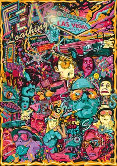 Fear and Loathing in Las Vegas Tribute Poster Artwork on Behance art illustration color Arte Dope, Dope Art, Psychedelic Art, Dope Kunst, Street Art, Fear And Loathing, Psy Art, Kunst Poster, Alternative Movie Posters