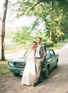 Ford Mustang wedding getaway car