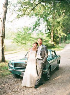 Ford Mustang wedding getaway car