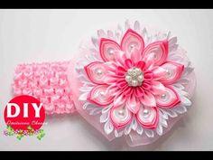 Master-class Kanzashi. DIY. Needlework. Headband Kanzashi. Flowers Kanza...