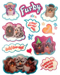 Transparent sticker images — Furby stickers by Hasbro, released with the. Printable Images, Korean Stickers, Collage Design, Aesthetic Stickers, Transparent Stickers, Cute Stickers, Wall Collage, Kitsch, Overlays