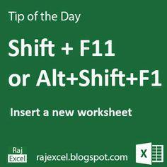 Shortcut: Insert a Worksheet Microsoft Excel, Microsoft Office, Microsoft Windows, Computer Help, Computer Programming, Computer Tips, Computer Technology, Vba Excel, Excel Hacks